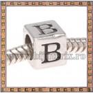 Margica argintie 6.4mm Litera B