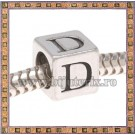 Margica argintie 6.4mm Litera D
