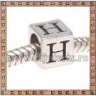 Margica argintie 6.4mm Litera H