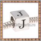 Margica argintie 6.4mm Litera J