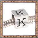 Margica argintie 6.4mm Litera K