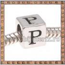 Margica argintie 6.4mm Litera P