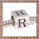 Margica argintie 6.4mm Litera R