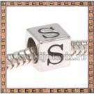 Margica argintie 6.4mm Litera S