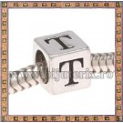 Margica argintie 6.4mm Litera T