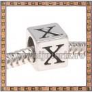 Margica argintie 6.4mm Litera X