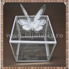 Cutie acetofan - margine alba cu fluturas 9x9x10cm