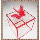 Cutie acetofan - margine rosie cu fluturas 7x6,5cm