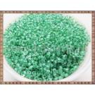 Margele nisip 2mm - transparente cu interior verde (100gr)