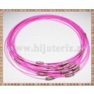Baza Colier - sarma siliconata cu memorie roz 45cm