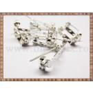 Ace de brosa 2cm cu inchizatoare (10buc) - argintiu