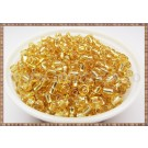Margele nisip 4mm - auriu transparent cu foita metalica (50gr)