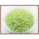 Margele nisip 2mm - verde deschis transparent cu foita metalica (50gr)