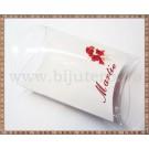 Set carton mic + suport acetofan - Martie flori rosii - 10buc