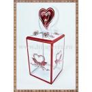 Cutie acetofan - filigran rosu cu inimioare 11x4cm