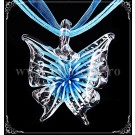 Pandantiv Fluture sticla - turcoaz