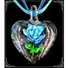 Pandantiv Murano Hearts & flowers - turcoaz