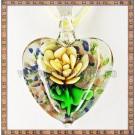 Pandantiv Murano Hearts & flowers - galben